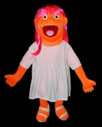 "Full/Half Body Blacklight Prisilla (Orange) 30"" Puppet"