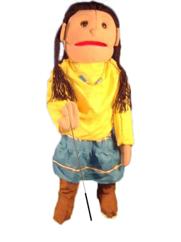 "28"" American Indian Girl (Yellow) Full Body Ventriloquist Puppet"