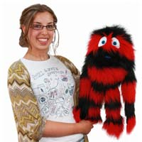 "20"" Red & Black Monster Puppet with Arm Rod"