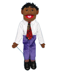 "28"" Aaron (Black) Full Body Ventriloquist Puppet"